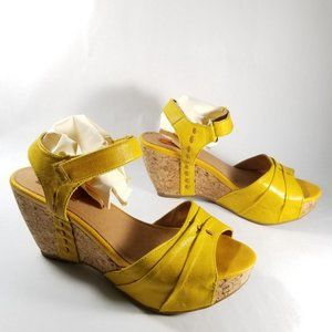 Miz Mooz Shoes - Miz Mooz Yellow Leather 'Yogi' Ankle Strap Sandals